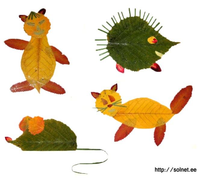 Детские поделки из листиков
