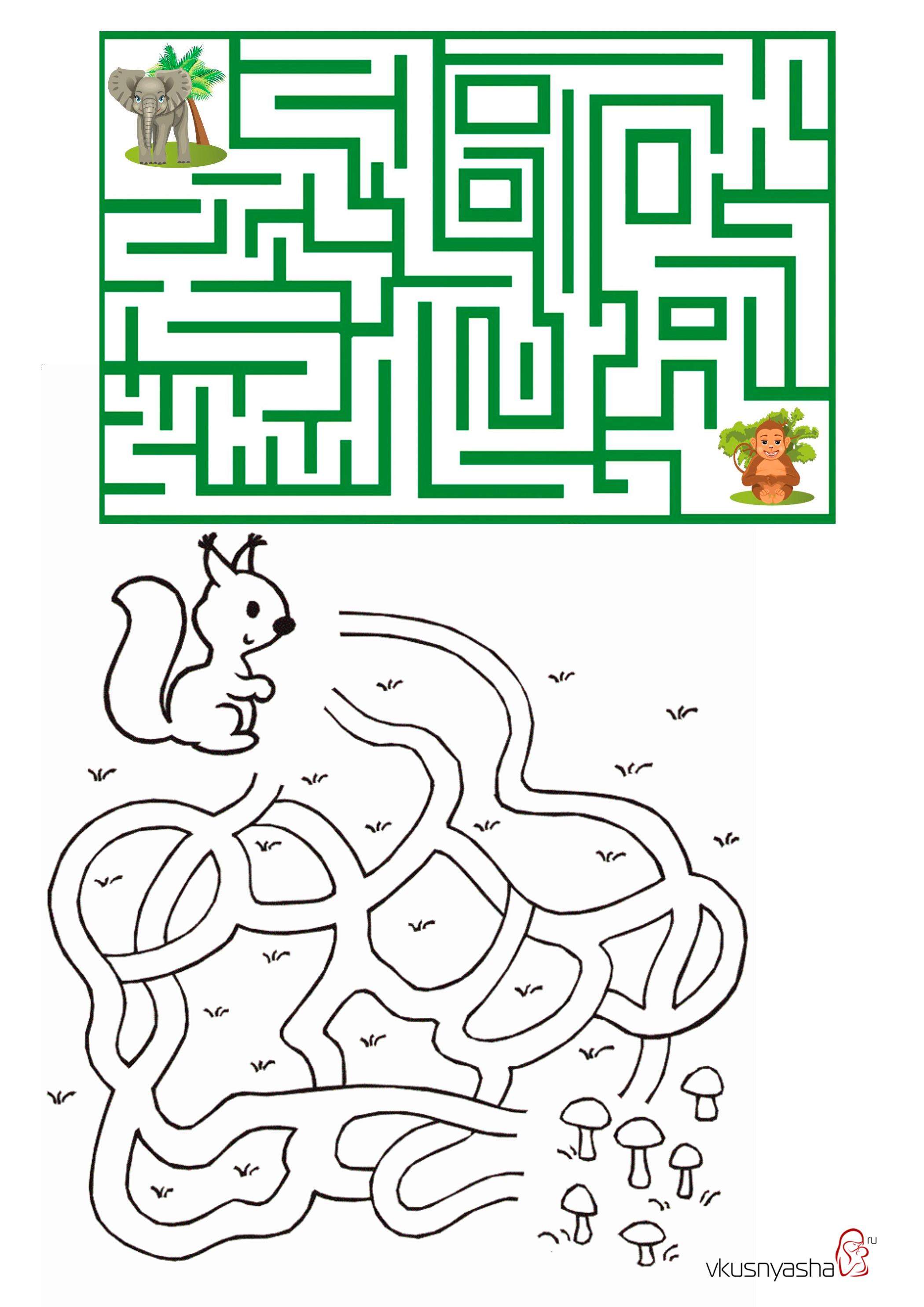 Лабиринты в картинки для детей