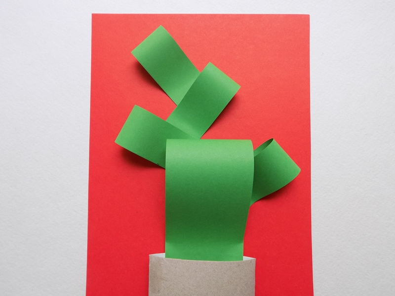 Аппликация для детей Кактус из цветной бумаги
