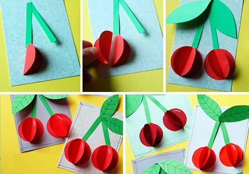 Объемные вишни из бумаги: аппликация