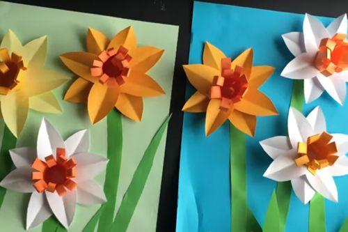 Объемная аппликация: нарциссы из бумаги - весенняя поделка с детьми