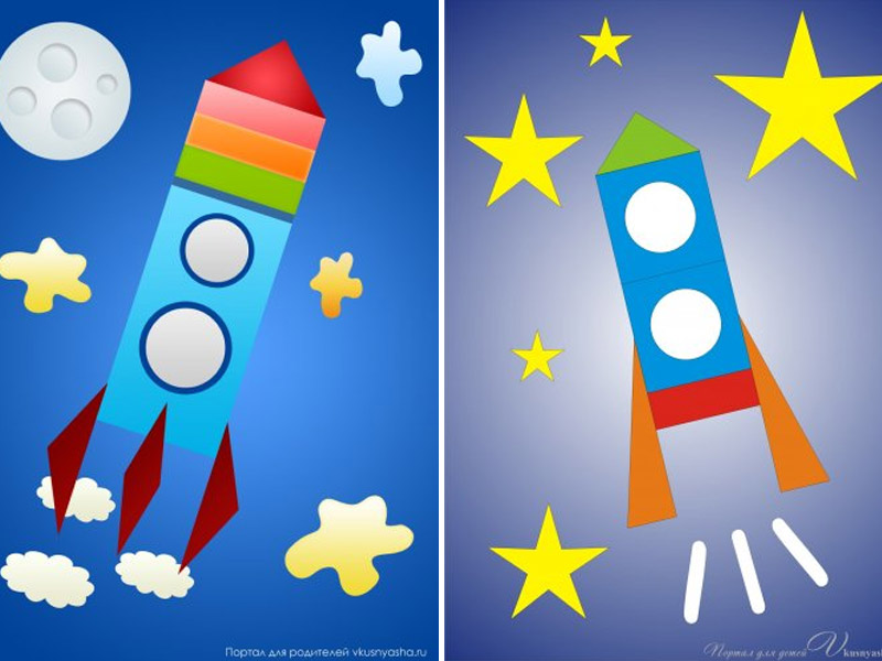 """Аппликации ко дню космонавтики для детей """"Ракета"""" - 2 шаблона и примеры"""