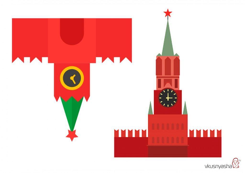 Аппликации к 9 мая для детей, шаблоны - кремль