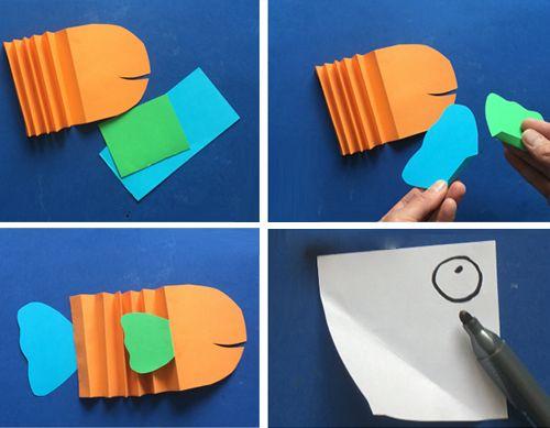 Объемная аппликация Рыбки из цветной бумаги