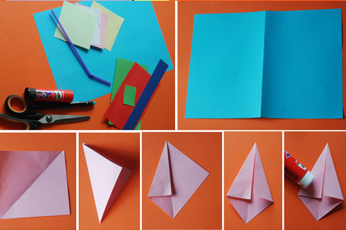Летняя аппликация из цветной бумаги