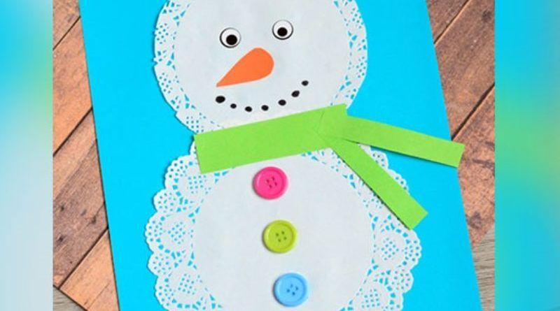 """Красивая зимняя аппликация для детей 3, 4, 5 лет """"Снеговик"""""""