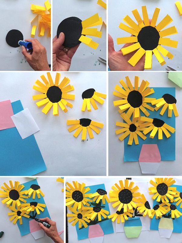 """Простые аппликации для детей на тему """"Лето"""": подсолнух"""