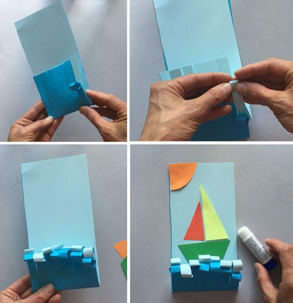 """Простые аппликации для детей на тему """"Лето"""": кораблик"""