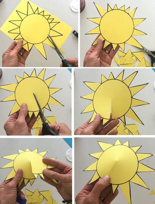 """Простые аппликации для детей на тему """"Лето"""": солнышко"""