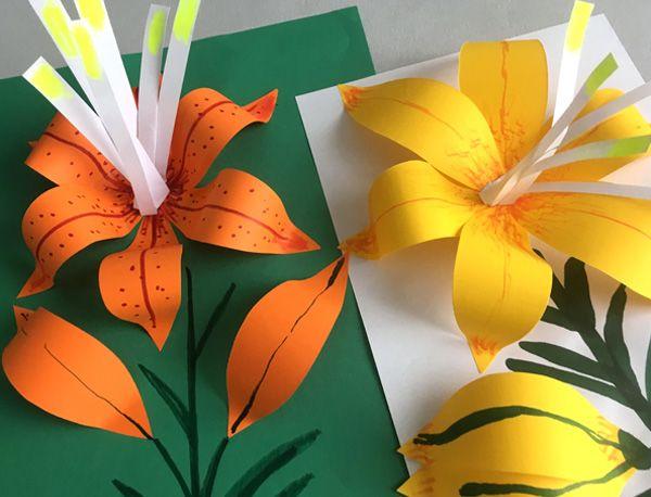 """Простые аппликации для детей на тему """"Лето"""": лилия"""