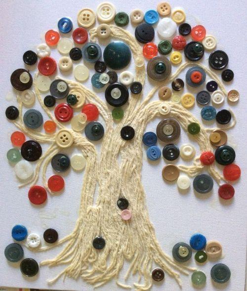 Дерево из пуговиц своими руками