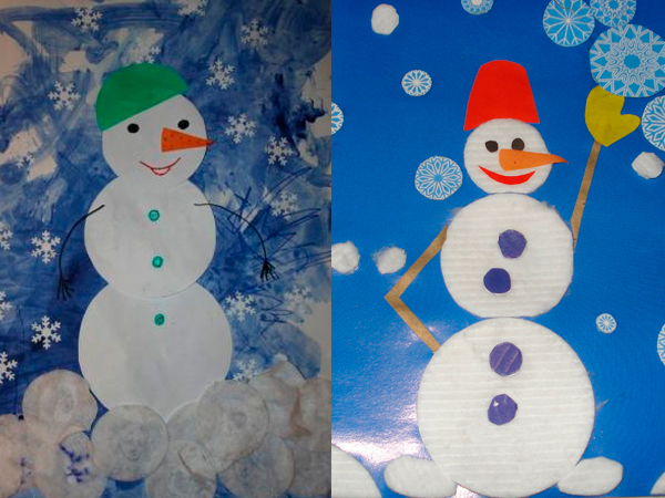 Снеговик из ватных дисков