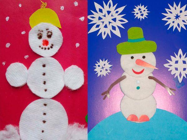 Снеговик из ватных дисков 1