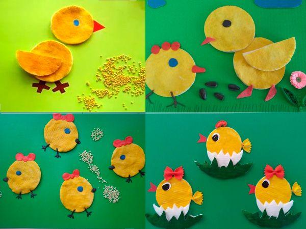 Цыпленок из ватных дисков
