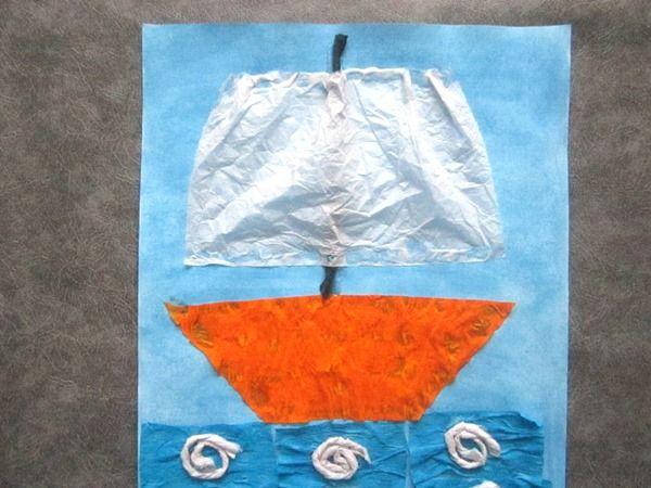 Аппликация к 23 февраля: кораблик из гофрированной бумаги