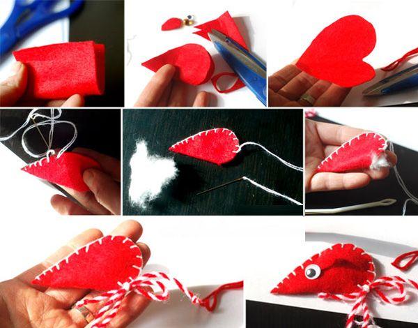 Мышка из красного фетра