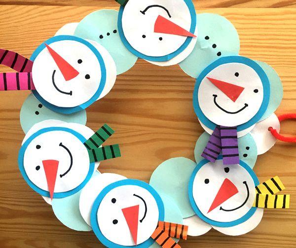 Новогодний венок Веселые снеговики