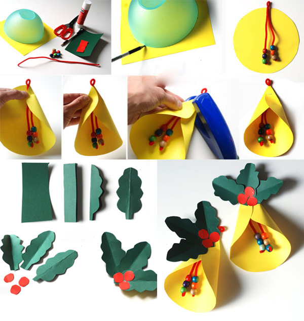 Новогодний венок с колокольчиками из бумаги