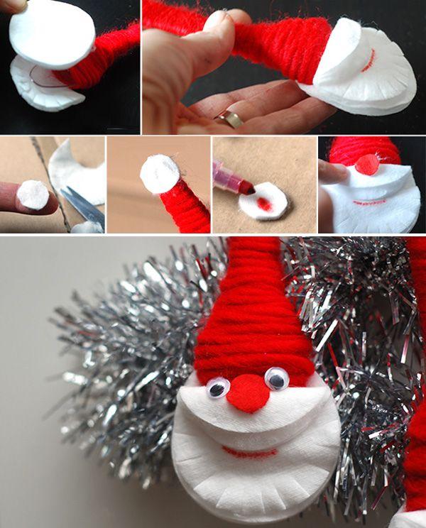 Простая поделка к Новому году - Дед Мороз из ложки