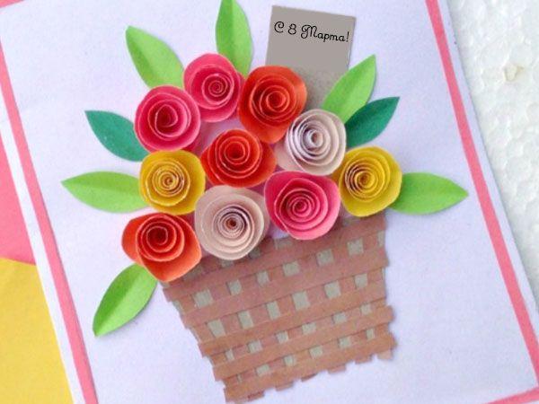 Открытка Корзина цветов для мамы на 8 Марта