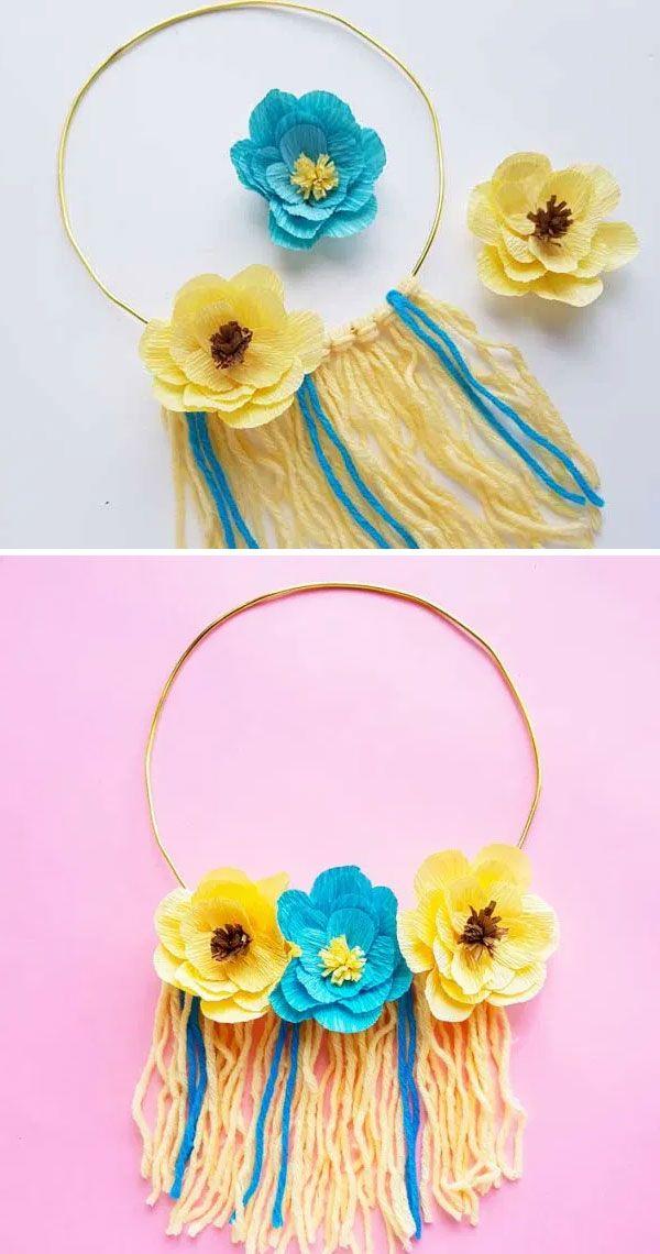 Декоративная подвеска с цветами