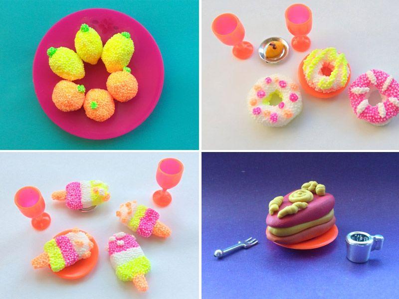 Еда для кукол из пластилина: фрукты, овощи, мороженое, пирожное