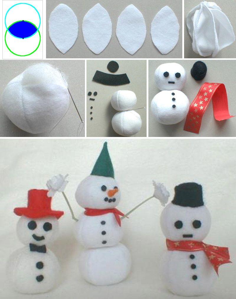 Шьем снеговика из белого флиса своими руками