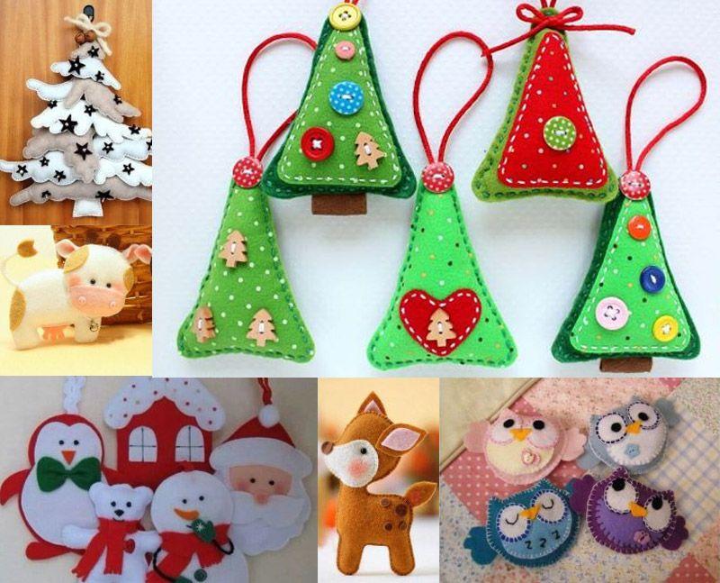 Новогодние елочные игрушки из фетра, выкройки