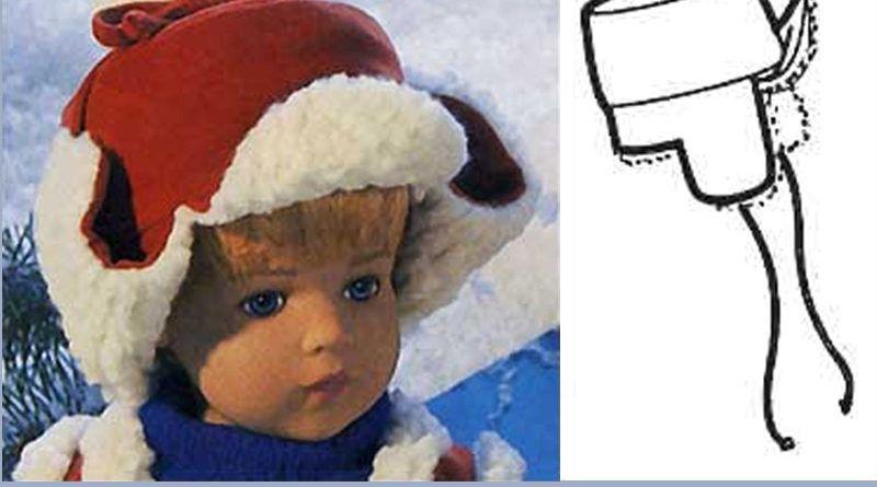 Зимняя шапка для куклы: выкройка + описание