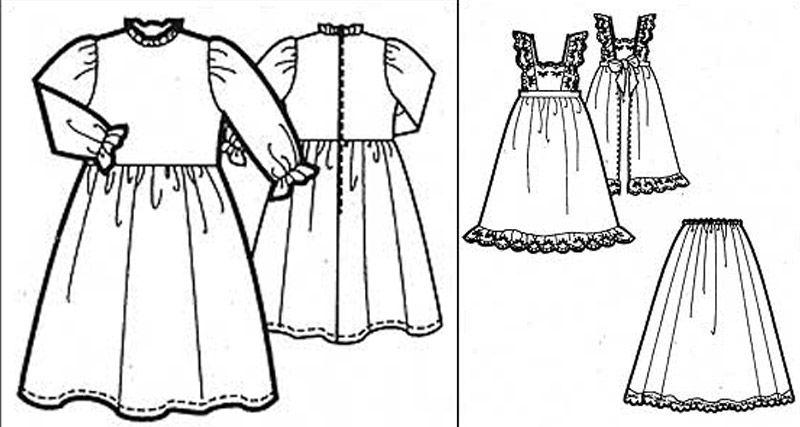 Платье, юбка и фартук для куклы 49-50 см