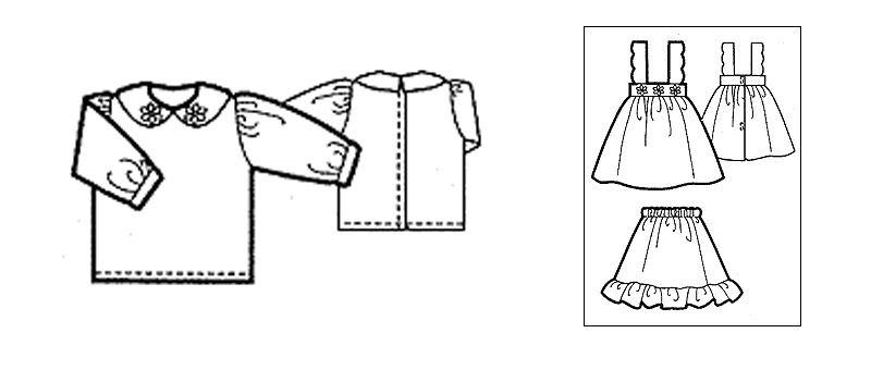 Сарафан с блузкой и нижней юбкой для куклы 48 см