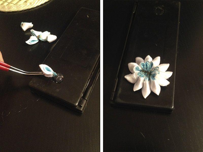 Цветок канзаши из атласных лент
