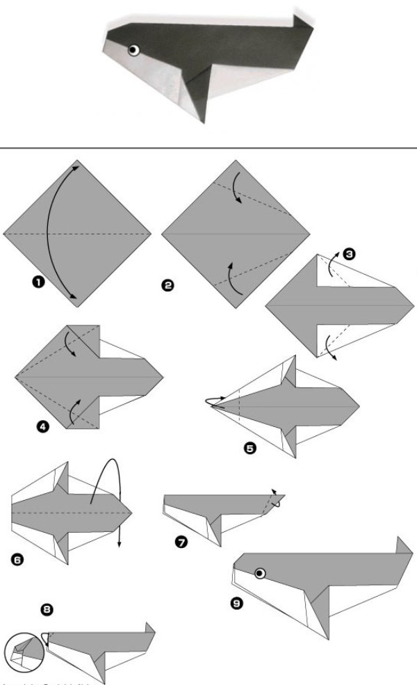 Простые схемы животных оригами для малышей