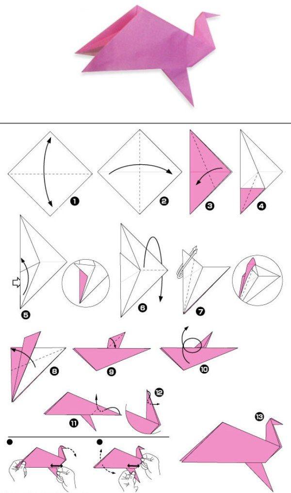 Схема оригами птица из бумаги