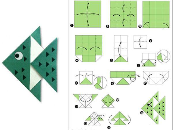 Рыбка пошаговая схема оригами