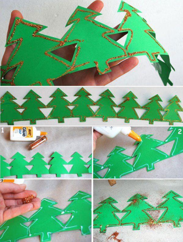 Новогодняя гирлянда из бумаги - елка