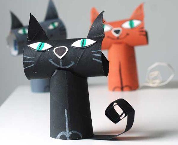 Кот из втулки от туалетной бумаги