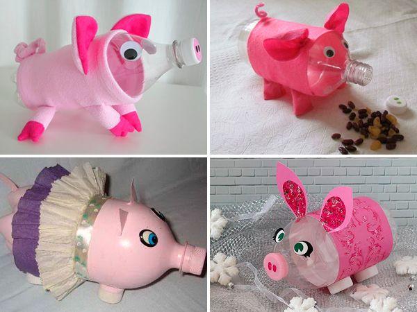 Свинья из пластиковых бутылок