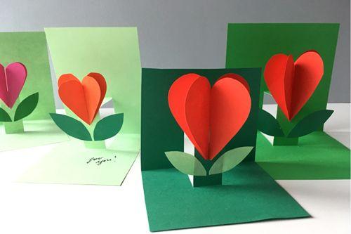 Объемная открытка-валентинка из цветной бумаги