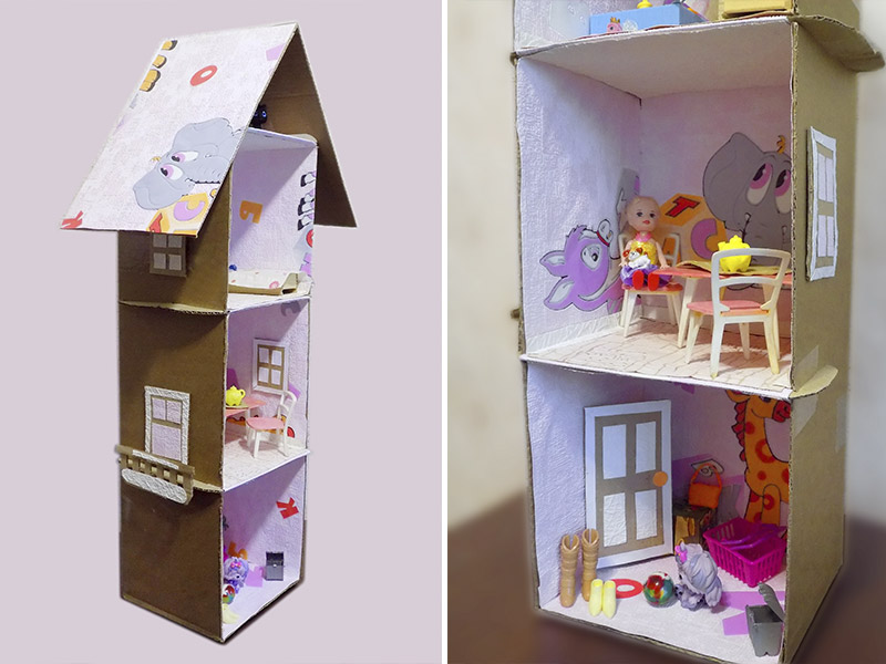 Домик для кукол из коробок своими руками:пошаговый мастер-класс с фото