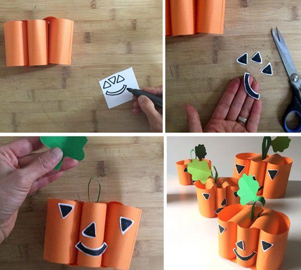 Тыква из цветной бумаги - поделка для детского сада