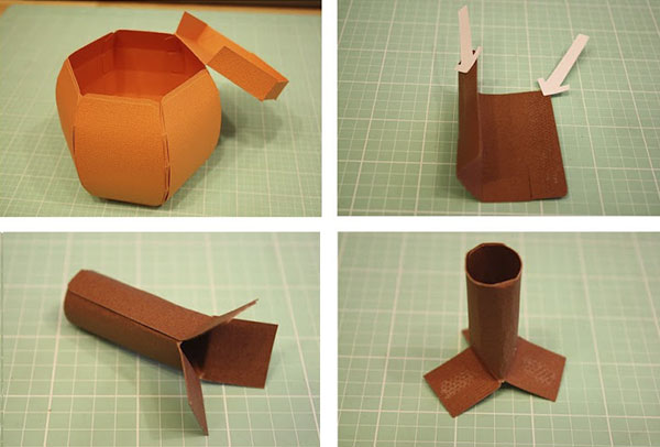 Тыква-коробка из картона - поделка для школы