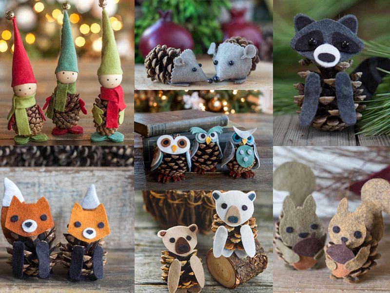 Новогодние игрушки из шишек и фетра
