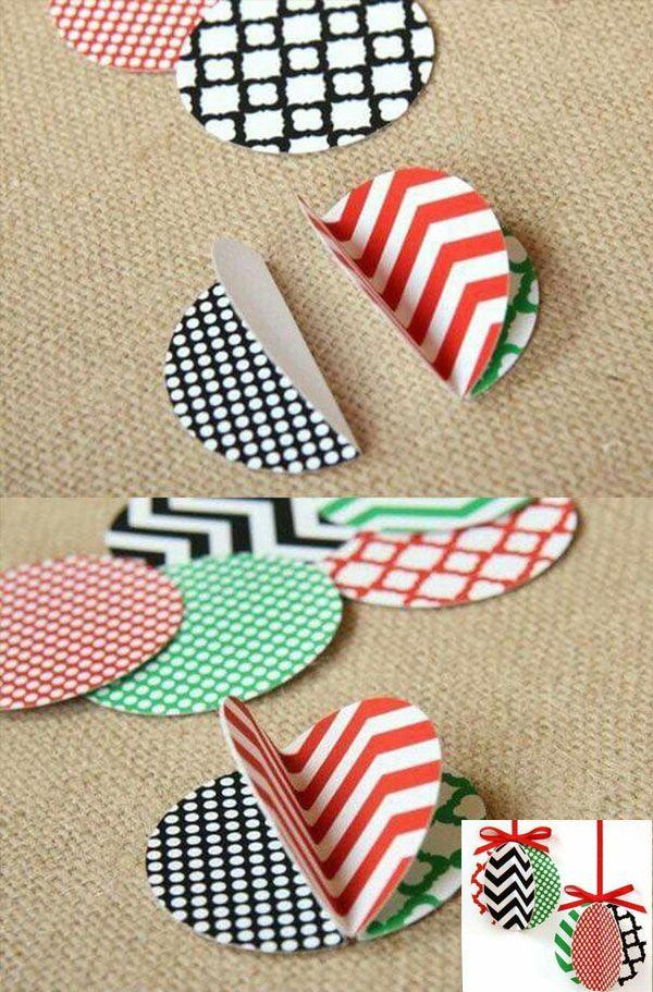 Простые новогодние игрушки на елку из бумаги
