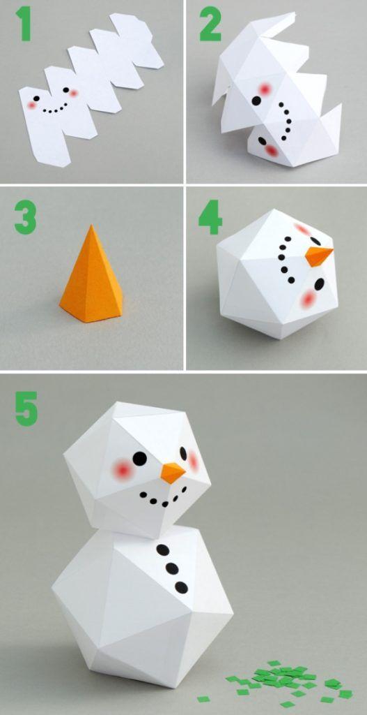Снеговик из бумаги как сделать