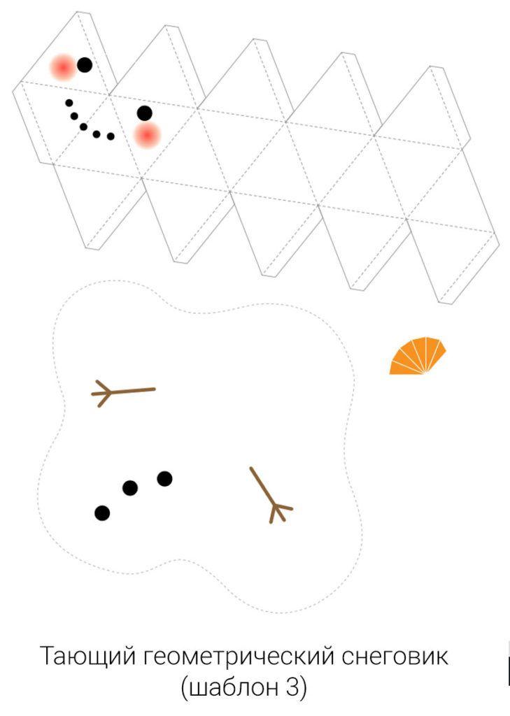 Шаблон для поделки снеговик из бумаги