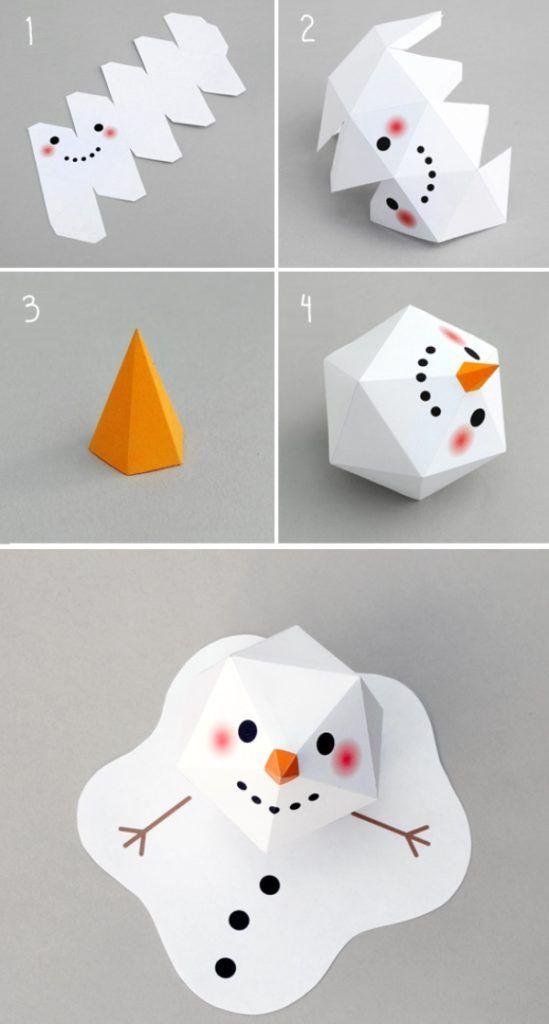 Как сделать снеговика из бумаги - инструкция