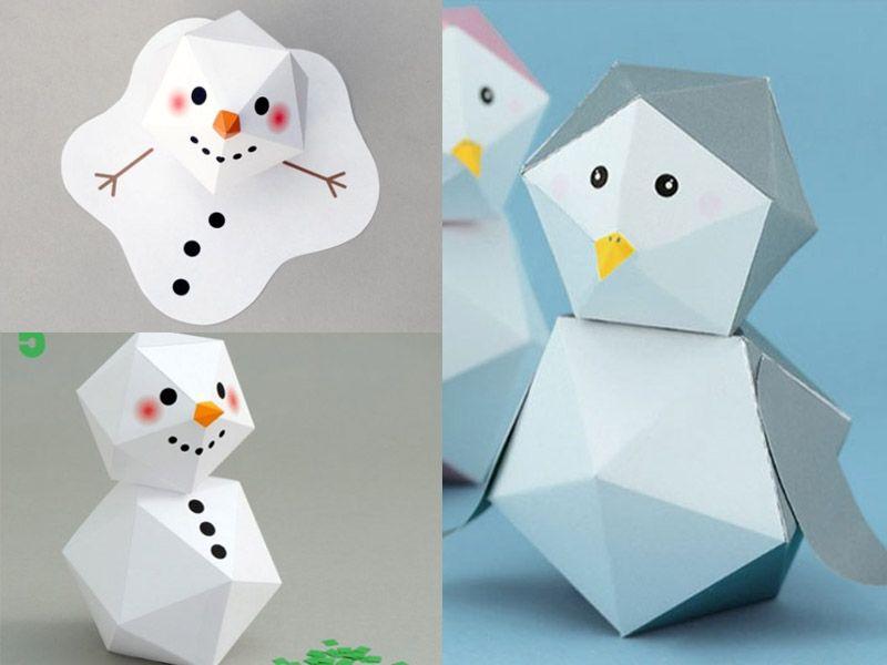Две зимние поделки из одного шаблона - Снеговик и Пингвин