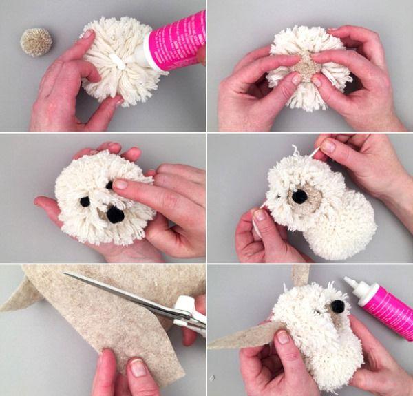 Собачка - игрушка из помпонов