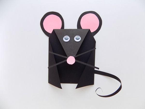 Поделка мышка из черной бумаги простая